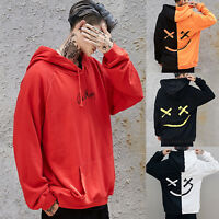 Mens Hooded Hoodies Smiling Face Fashion Print Hoodie Sweatshirt Jacket Pullover