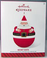 SECRET SANTA 2014 Hallmark Christmas Holiday Ornament NIB Hide a Surprise Inside