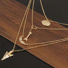 Women's Gold Circular Arrow Wings Pendant Multi Layer Necklace
