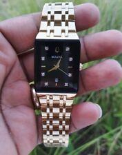 Bulova 97D118 Modern Diamond Accent Gold-Tone Watch with Rectangular Black Dial