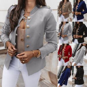 Women Formal Button Long Sleeve Blazer Suit Coat Work Jacket Outwear Tops Ladies