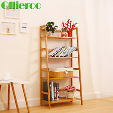Ollieroo 4 Tier Bamboo Storage Rack Bookcase Shelving Multi-functional Organizer