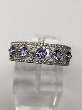10K White Gold Natural Tanzanite and 0.20ct twt Diamond Band Ring Size 7.25 New
