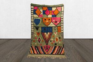 Moroccan vintage colorful berber area rug, 5x8 tribal Handmade azilal boho rug