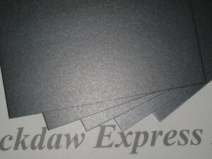 40 x A6 300gsm Charcoal Grey 2-Sided Pearlescent Card AM831