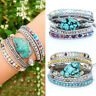 Wrap Leather Bracelet for Women with Natural Turquoise Charm Silver Gold Beads