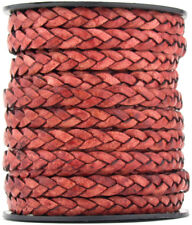 LCF5-7 5mm Flat Braided Leather Cord One Yard Cerulean Free Shipping