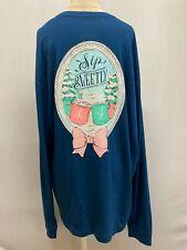 """New Lauren James Women's """"Sip Sweetly"""" Long Sleeve T-Shirt, Dark Blue, S, L, XL"""