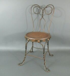 Antique Childs Ice Cream Chair w/ Original Oak Seat by A.H. Andrews of Chicago