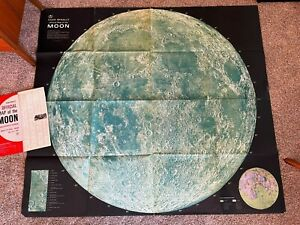 """Vintage 1969 Rand McNally Map of the MOON 53 1/2"""" by 48""""  NICE!"""