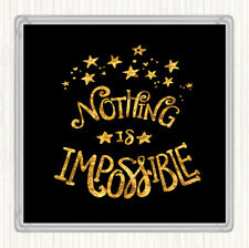 Black Gold Impossible Unicorn Quote Drinks Mat Coaster