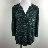 H&M S Small Knit Blouse Pullover Tunic Teal  Green Floral 3/4 Sleeve 3 Button
