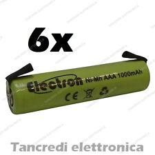 6x 1,2 v 1000 mAh ministilo AAA terminali lamelle a saldare uso generico 900mAh