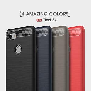 For Google Pixel 3A/3A 2 1 XL Slim Fiber Carbon Silicone Hybrid TPU Cover Case