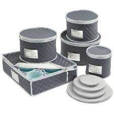 mDesign Quilted Protective Dinnerware Storage, 5 Piece Set - Navy Blue/Gray