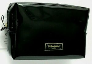 YSL Yves Saint Laurent Makeup Cosmetic Bag Faux Patent Leather Glossy Black New!