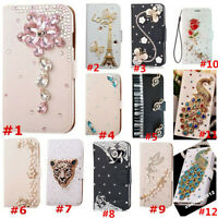 Flip Bling Diamond Wallet Stand Case Crystal PU Leather Cover For Huawei 1