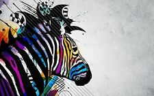 Abstract Zebra - Colourful Painting Paint Art Large Poster / Canvas Pictures