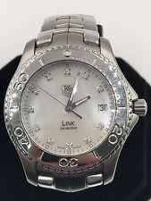 ORIGINAL TAG HEUER MENS LINK  WJ1114.BA0570 MOTHER OF PEARL DIAMOND STEEL WATCH