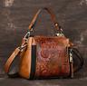 Women's New Vintage  Genuine Cow Leather Embossed Handbag Purse Shoulder Bag