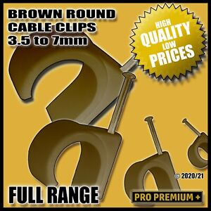 Brown Round Plastic Cable Clips Clamps Electrical Wire Wall Nail Tacks 3.5 - 7mm