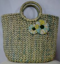 ANN TAYLOR LOFT Sea Blue Woven Straw Rattan Summer Hand bag Tote w Flowers