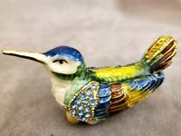 Bird Pewter Enamel Jeweled Trinket Box Animal Figure Decor Pink Rhinestone