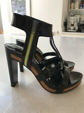 See By Chloe Black Patent / Neon Zip T Bar Sandal Size Uk5 38
