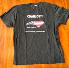 Men's Black LAT Size XL Cotton T-Shirt Charlotte North Caarolina