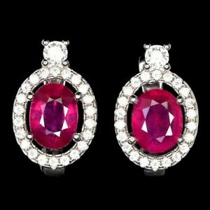 Oval Red Ruby 8x6mm Cz 14K White Gold Plate 925 Sterling Silver Earrings