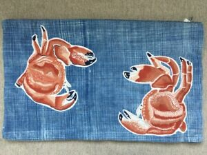 Pottery Barn Mr. Crab Embroidered Lumbar Pillow Cover 16 x 26 Sealife Ocean Blue