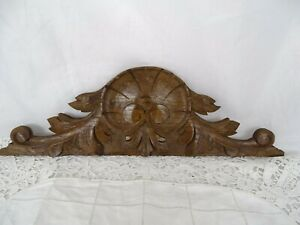 "15""  French Antique Wood Oak Pediment Hand Carved - Shell - For Clock"
