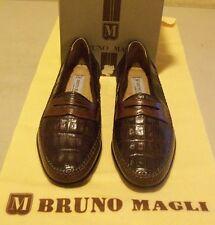 New CROCODILE w/calf leather Bruno Magli Jessup 7.5 M brown (3680)