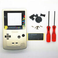 GBC Nintendo Game Boy Color Replacement Housing Shell Screen Gold Pikachu USA!