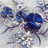 3D Flowers Wedding Dress Motif Embroidery Lace Applique Beaded Gown DIY Trim 1PC