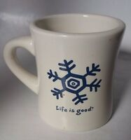 Life is Good heavy diner style coffee mug white with blue snowflake
