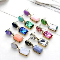 Vintage Retro Crystal Rhinestone Earrings 9 Colours Square Opal Dangle Drop *UK*