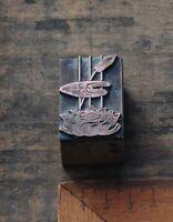 SEEROSE Kupferdruckstock Galvano Druck Klischee Jugendstil Art Nouveau Deco vtg