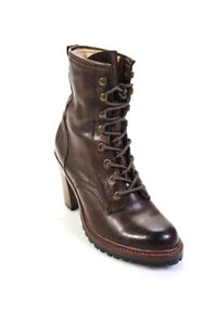 Frye Womens Leather High Heel Lace Up Ankle Boots Brown Size 7.5M