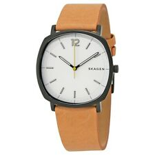 Skagen Rungsted Gents Brown Leather Strap White Dial SKW6379 Mens Watch