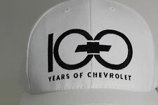 White Embroidered 100 Years of Chevrolet Bowtie Velcro Ball Cap Hat