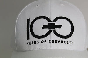 White Embroidered 100 Years of Chevrolet Bowtie Ball Cap Hat