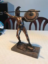 Heavy Vintage Spartan Roman Spear Lion Shield Garden Home Statue Ornament Figure
