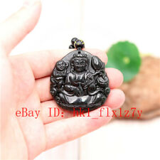 Beads Necklace Buddha Amulet Gifts Black Green Jade Guanyin Carved Pendant