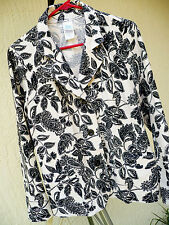 PAISLEY SZ S M FLORAL BATIK LOOK HIPPY IVORY OFF WHITE BLACK BLAZER JACKET WOMEN