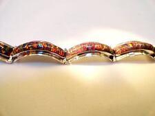 """TRUE RED Glowing Fire Opal Linked Bracelet 7"""" Medium Sterling Silver 925"""