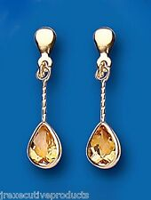 Citrine Earrings Yellow Gold Drop Earrings