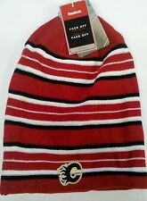 Calgary Flames REEBOK Knit Beanie Toque Winter Hat Cap Skull - Long REVERSIBLE