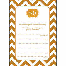 10 - 50 Years Golden Wedding Anniversary Party Invitations - Ann-50-06 Chevrons