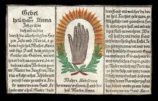 HAND der HL. MUTTER ANNA  kupferstich andkolor gebetszettel 18.Jh.